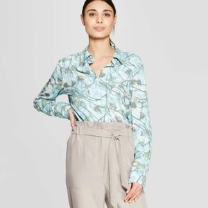 Women's Floral Print Long Sleeve Collared Front